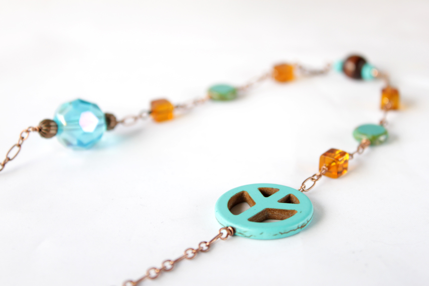 turquoise color peace sign necklace with copper chain