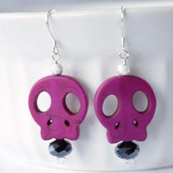 sterling silver pink skull earrings