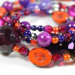 orange purple and pink beaded necklace